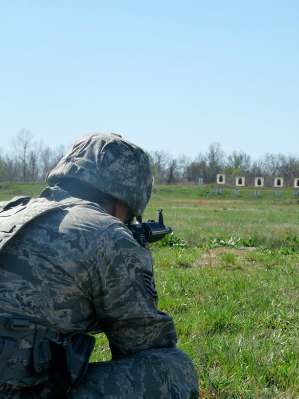 Missouri National Guard Soldiers and Airmen compete in the 2012 Adjutant General State Combat Match Rifle/Pistol Championships at Camp Crowder in Neosho, Mo, March 23-25, 2012. (Photo by Ann Keyes/Missouri National Guard)