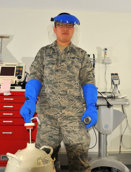 SPANGDAHLEM AIR BASE, Germany -- Staff Sgt. Sung Yoon Hwang, 52nd Medical Operations Squadron pediatric medical technician, is the Super Saber Performer for the week of April 5 – 11. (U.S. Air Force photo by Airman 1st Class Dillon Davis/Released)