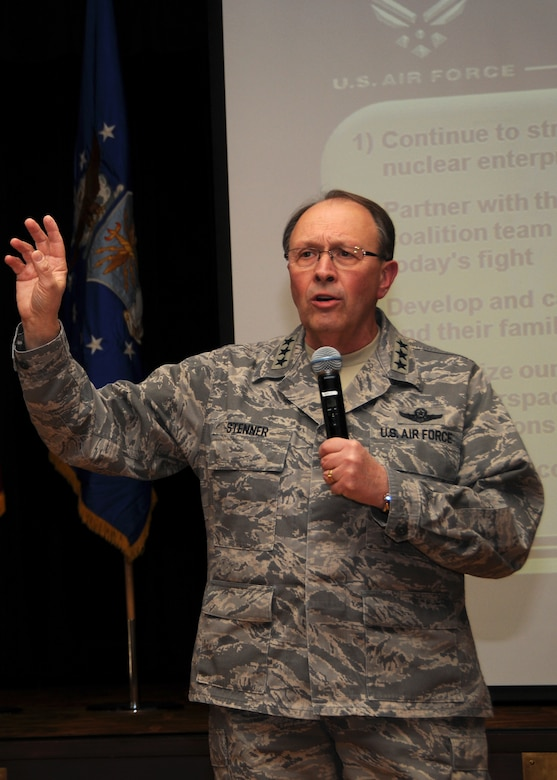 Lt. Gen. Charles E. Stenner, Jr., commander, Air Force Reserve Command, discusses Air Force priorities with the men and women of the 944th Fighter Wing during a townhall meeting at Luke Air Force Base, Ariz., Sunday. (U.S. Air Force Photo by Staff Sgt. Louis Vega)