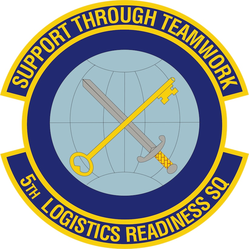 5th Logistics Readiness Squadron (Color). Image provided by 5 BW/HO. In accordance with Chapter 3 of AFI 84-105, commercial reproduction of this emblem is NOT permitted without the permission of the proponent organizational/unit commander. Image is 7 x 7 inches @ 300 dpi
