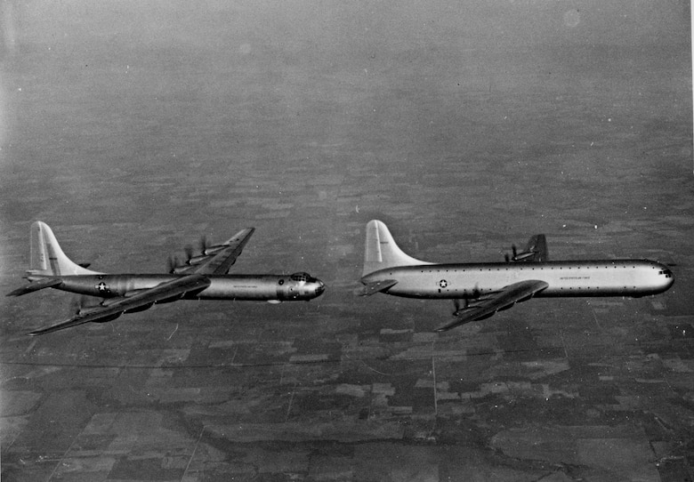 XC-99 in flight with a B-36. (U.S. Air Force photo).