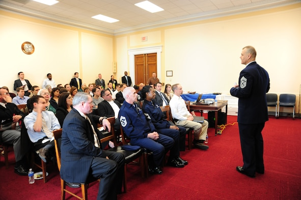 WASHINGTON -- Cheif Master Sgt. of the Air Force James A. Roy addressed a small group of civic leaders and DOD personnel on the importance of building a total force culture of resiliency on Capitol Hill April 5.  In effort to prevent suicide, the Air Force is developing several new programs to help identify Airmen who may need help. (U.S. Air Force photo/Senior Airman Amber Russell)