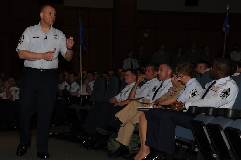 Chief Master Sergeant of the Air Force James Roy speaks to Airmen at Joint Base Charleston - Air Base April 9. Roy held the enlisted call to speak to Airmen about their future in today's Air Force. He also held a question and answer session during the event. Roy represents the Air Force's highest enlisted level of leadership. (U.S. Air Force photo/ Airman 1st Class Chacarra Walker)