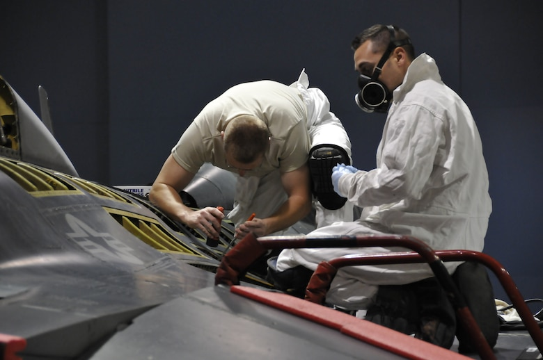 """The 162nd Fighter Wing at Tucson International Airport earned high marks on an ESOHCAMP assessment conducted April 3-5. The wing's Environmental, Safety & Occupational Health Compliance Assessment & Management Program was deemed """"successful"""" by the Air National Guard at following law, regulation and policy. Most importantly, the assessment results mean that the unit is effective at protecting its workers and the environment. (U.S. Air Force photo/Tech. Sgt. Hollie Hansen)"""