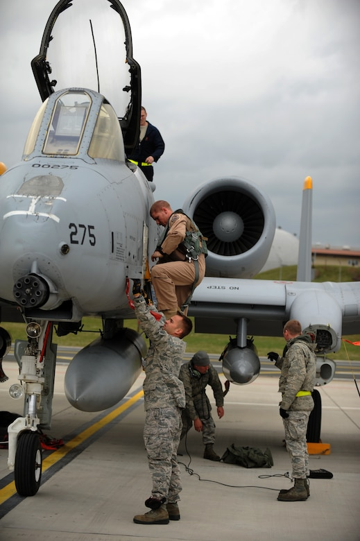 SPANGDAHLEM AIR BASE, Germany – Capt. Mike Krestyn, 81st Fighter Squadron pilot and chief of plans, climbs down from the cockpit of an A-10 Thunderbolt II on Ramp 4 here April 10. Krestyn was one of the squadron's six pilots returning from a deployment from Bagram Airfield, Afghanistan, providing close air support during Operation Enduring Freedom. (U.S. Air Force photo by Airman 1st Class Matthew B. Fredericks/Released)