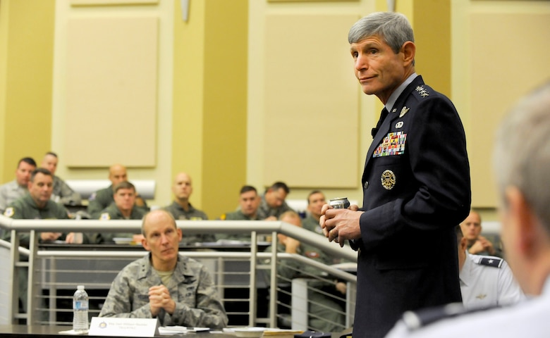 Air Force Chief of Staff Gen. Norton Schwartz speaks to attendees at the Total Force Integration Summit at Joint Base Andrews, Md., April 2, 2012.  (U.S. Air Force photo/Scott M. Ash)