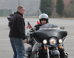 "QUANTICO, Va. — ""Look all the way through the curve,"" an instructor for the Motorcycle Safety Federation tells Command Sgt. Michael Buxbaum, U.S. Army Corps of Engineers Command Sgt. Major, during the Basic Riders Course II March 16 at Marine Corps Base Quantico."