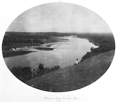 "This is a view of wingdams on the Mississippi River at Nininger, Minn., in 1891.  In his 1883 book ""Life on the Mississippi,"" Samuel Clemens wrote, ""The military engineers of the Commission have taken upon their shoulders the job of making the Mississippi over again… They are building wing-dams here and there to deflect the current; and dikes to confine it to narrower bounds; and other dikes to make it stay there."""