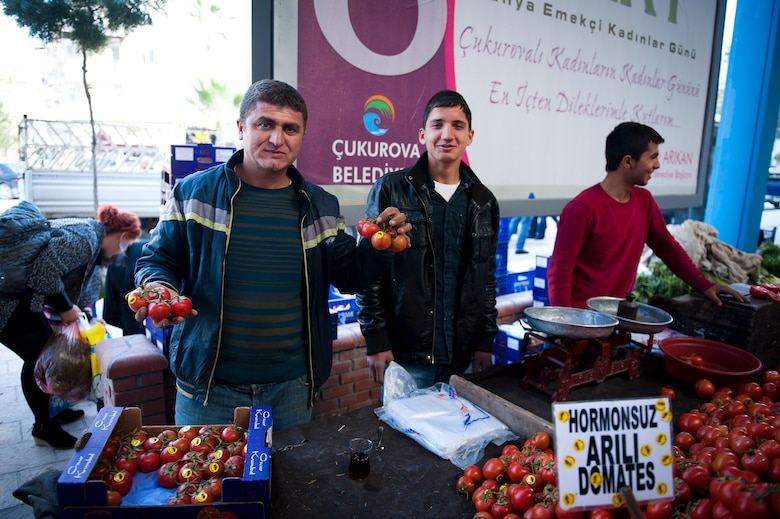 Vendors display their tomatoes at a farmers market March 8, 2012, in Adana, Turkey. The fertile soil around Adana allows farmers to grow many types of produce, keeping prices low and fruits and vegetables fresh. (U.S. Air Force photo by Tech. Sgt. Michael B. Keller/Released)