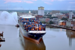 Early morning arrival of the CMA CGM Figaro, an 8,500 TEU cargo vessel. The Figaro is the largest vessel to date to call on the Savannah Harbor's Garden City Port. U.S. Army Corps of Engineers photo by Billy Birdwell
