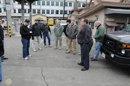 Ken Pickler, Chief of the U.S. Army Corps of Engineers Far East District Transportation Branch, briefs members of Pacific Ocean Division-Forward before departing for Daegu to support Key Resolve 2012.
