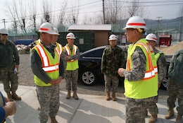Col. Donald E. Degidio, Jr. (right), U.S. Army Corps of Engineers Far East District commander, briefs Col. Gregory Gunter (left), Deputy POD Commander, during Key Resolve 2012.