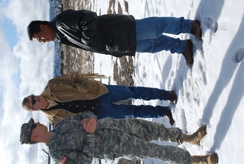 SANTA CLARA PUEBLO, N.M., -- Maj. Seth Wacker and Robert Isenberg of the Corps' South Pacific Division's 59th Forward Engineering Support Team – Advanced (center), visit a freshwater site at Santa Clara Pueblo and meet with Adrian Garcia, a Santa Clara tribal member.