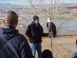 ABIQUIU, N.M., -- The Wildlife Center presented a brief talk about how to identify an eagle in the wild, their habitat, and why we do the count. They also brought their captive bald eagle Maxwell.