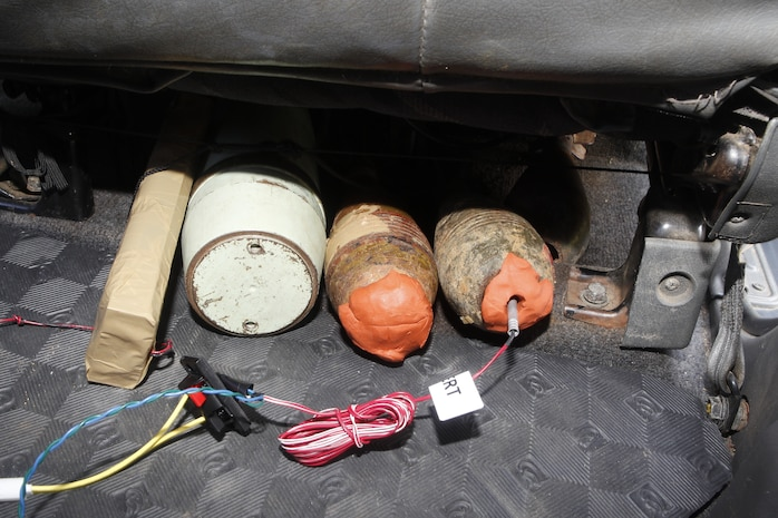 A fake improvised explosive device was planted in a vehicle during an evolution ran by Philippine Air Force Squadron 5711 and Marine Wing Support Squadron 172 (MWSS-172) as part of Exercise Balikatan 2012 (BK12) on April 13 at the Armed Forces of the Philippines Western Command Base in Puerto Princesa, Palawan, Republic of the Philippines. BK12, in its 28th iteration, is an annual bilateral training exercise between the Republic of the Philippines and U.S. military members designed to build joint planning, contingency, humanitarian and disaster relief capabilities. MWSS-172 is part of Marine Wing Support Group 17, 1st Marine Aircraft Wing, III Marine Expeditionary Force. BK12 officially begins April 16, 2012.