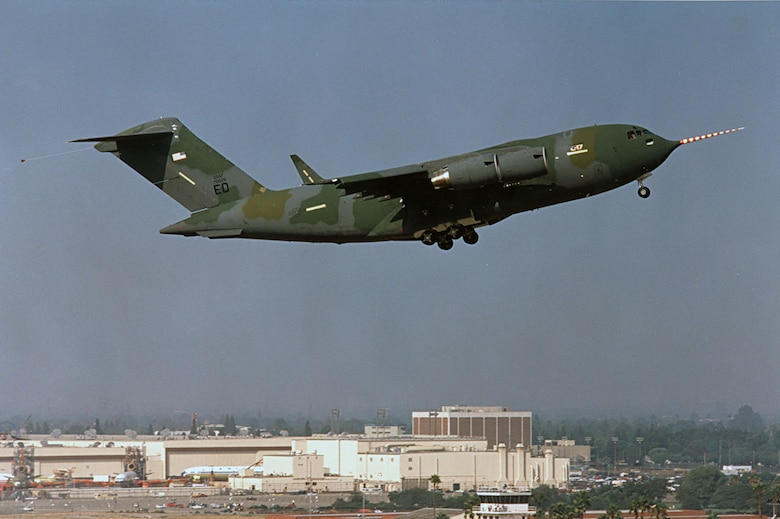 The C-17 Globemaster III T-1 takes off from Long Beach, Calif., on Sept. 15, 1991. (Photo courtesy of Boeing)