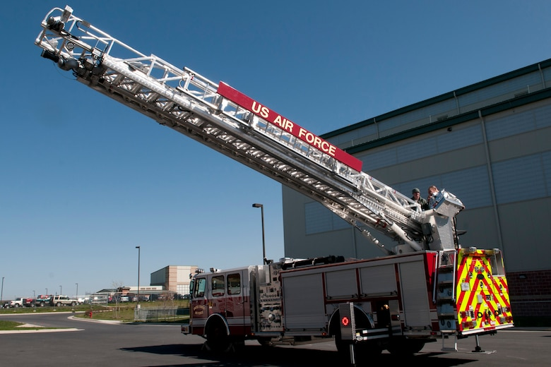 An HP 75 quint fire truck, a ladder/ pumper combination, was recently added to the 167th Fire Departments equipment inventory. (Air National Guard photo by Staff Sgt. Sherree Grebenstein)