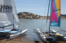 Catamarans beached on a beautiful day at Black Butte Lake