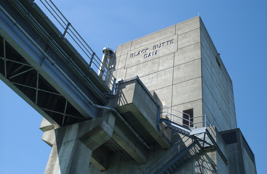 View from the water -- looking up at Black Butte Dam