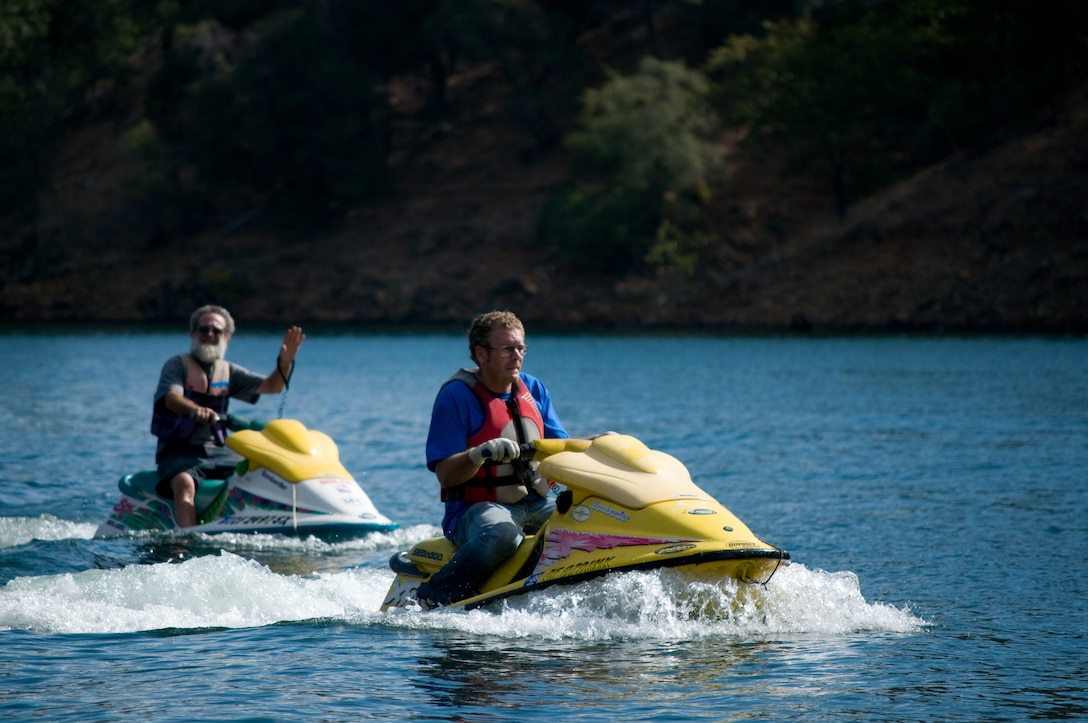 Personal watercraft find a great day for boating at Englebright Lake