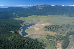 Martis Creek Lake seen in aerial view.
