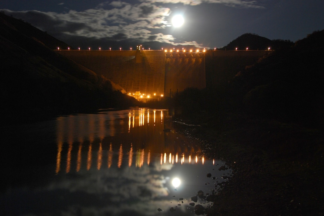 Looking at Pine Flat Dam during a full moon.