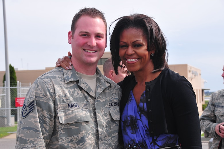 First Lady, Michelle Obama, is greeted by service members and family members from the 171st Air Refueling Wing and the 911th Airlift Wing upon her arrival to the Pittsburgh International Airport, April 17. (National Guard photo by Master Sgt. Ann Young/Released by Capt. Dicie Hritz)