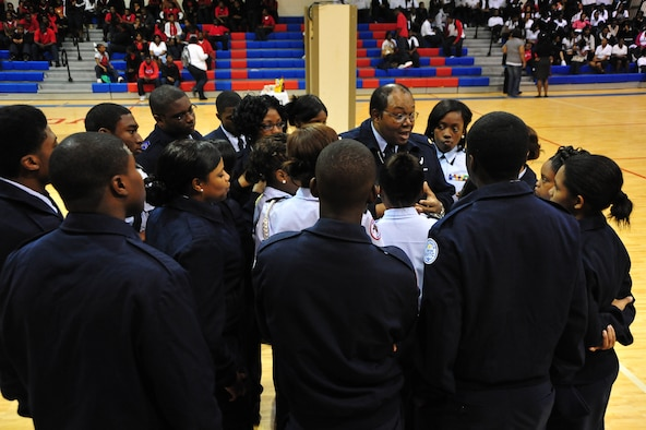 Maj. John A. Brown, commander, Wilcox Central High School Junior Officer Reserve Training Corps, Detachment AL-936, Camden Ala. speaks to his cadets prior to starting their play, which highlighted sexual assault awareness on March 29. Detachment AL-936 is a shining example of excellence despite the area they are located in. (Air Force photo by Senior Airman Christopher Stoltz)