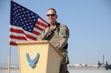 KANDAHAR AIRFIELD, Afghanistan — Air Force Col. Benjamin Wham, U.S. Army Corps of Engineers Afghanistan Engineer District South commander, addresses the attendees at the strategic and tactical ramp turnover ceremony here, April 10, 2012.