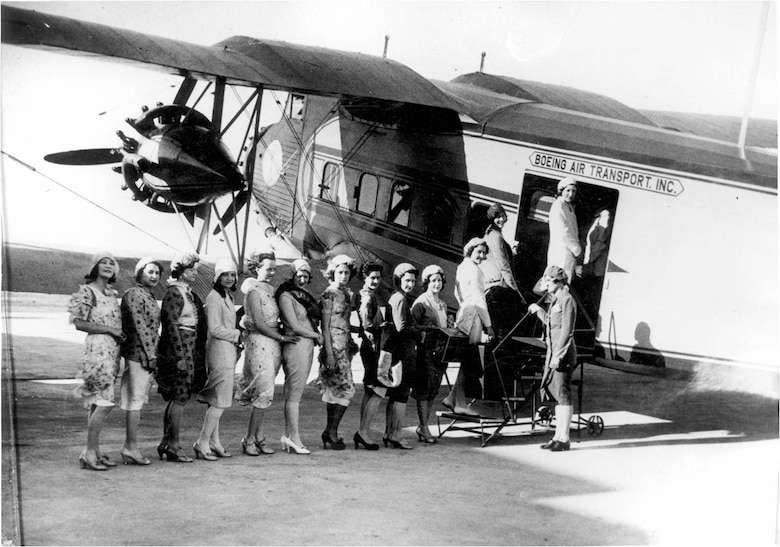 A group of stewardesses board a plane in the early days of training in Cheyenne, Wyo. (Photo courtesy of Michael Kassel)
