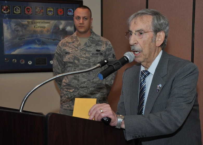 Bernard Marks speaks during a Holocaust Remembrance Luncheon at Beale Air Force Base, Calif., April 17, 2012. Marks is a survivor of the Holocaust and the Aushwitz extermination camp. (U.S. Air Force photo by Staff Sgt. Robert M. Trujillo/Released)