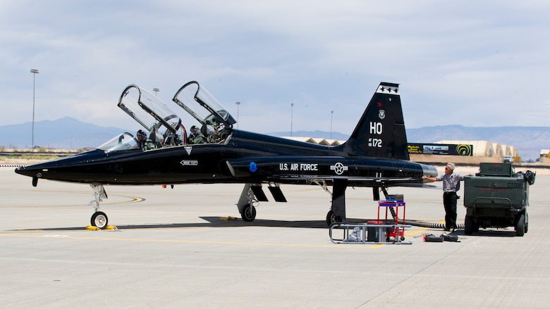 HOLLOMAN AIR FORCE BASE, N.M. – A T-38 Talon prepares to taxi onto the runway April 19. The T-38's ability to take off is a team effort that starts with the maintainers. (U.S. Air Force photo by Daniel E. Liddicoet/Released)