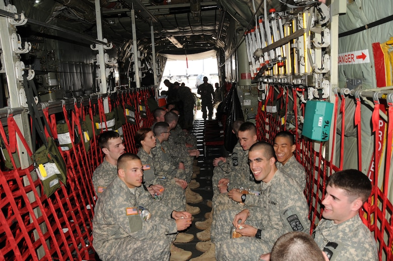 Canisius College Army ROTC Battalion Cadets enjoy flying for the first time with the 107th Airlift Wing on a C-130 aircraft for real world Army deployment training. April 19, 2012 (U.S.Air Force Photo/Senior Master Sgt. Ray Lloyd)