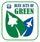 """The Air Force recently launched a """"Blue Acts of Green"""" social media campaign, during which Airmen and their families are encouraged to commit to perform an environmentally friendly practice at home or work from April 16 to 27. Visit www.facebook.com/blueactsofgreen to enter a """"green"""" act. (U.S. Air Force graphic/Released)"""