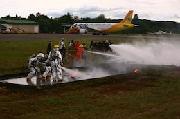 A Puerto Princesa Airport Aircraft Rescue and Fire Fighting team, along with a team of U.S. ARFF Marines, put out a training fire on the Puerto Princesa Airport flight line in Puerto Princesa, Palawan, Republic of the Philippines April 22, 2012. The career counterparts trained with one another during Balikatan 2012 Task Force Palawan. BK12 is a bilateral, joint exercise conducted annually between the U.S. and the Republic of the Philippines. This year marks the 28th iteration of the nations' exercise. The Filipinos are with the PPA. The Marines are with Aviation Operations Company, Marine Wing Support Squadron 172, Marine Wing Support Group 17, 1st Marine Aircraft Wing, III Marine Expeditionary Force.