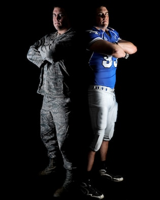 Second Lt. Ben Garland, 375th Air Mobility Wing Public Affairs chief of media operations, is pictured in his military uniform and Air Force football gear. Garland has served as a dedicated officer in the United States Air Force and has been approved for release from active duty. He is now at Denver Broncos offseason training camps where he is taking his opportunity to play pro football. (U.S. Air Force photo illustration/Staff Sgt. Brian J. Valencia)