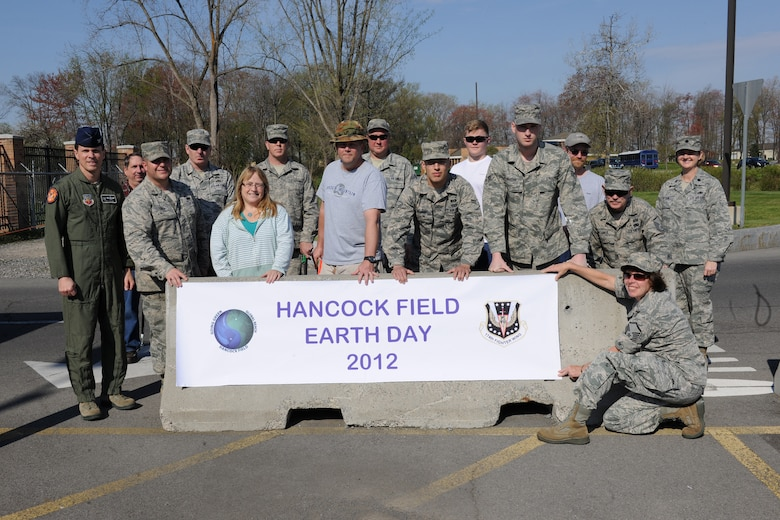 Members of Hancock Field Air National Guard Base gather to participate in a road side cleanup in support of Earth Day at Hancock Field in Syracuse, NY on April 20, 2012.  The participants started at various points directly adjacent to the base and picked up trash in an effort to not only improve the environment but to act as examples to the community.  (New York Air National Guard Photo by Tech. Sgt. Jeremy M. Call/Released)