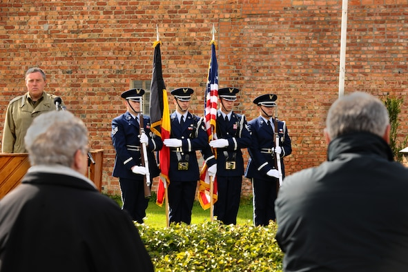 DUFFEL, Belgium – The 52nd Fighter Wing Honor Guard performs ceremonial drills during colors at an annual remembrance ceremony held here April 22. The ceremony is held to remember a B-17G Flying Fortress, Pluto's Avenger, that crash landed Feb. 22, 1944, in Duffel. People from throughout Europe travel to the aircraft-crash site memorial each year to participate in the ceremony, which honors the four crew members who were killed in action during the crash. The honor guard works to support the local community's ceremonies by performing at more than 20 memorial and recognition ceremonies each year. (U.S. Air Force photo by Airman 1st Class Dillon Davis/Released)