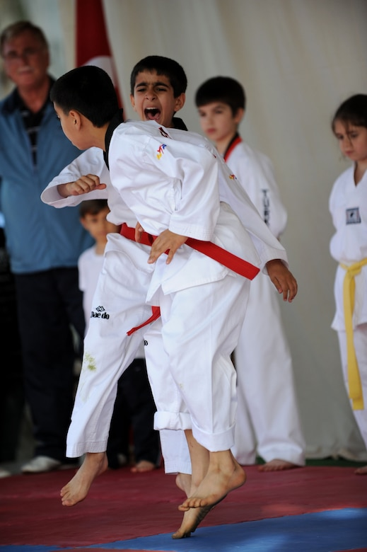 Children's Day participants perform taekwondo during a festival April 22, 2012, at Incirlik Air Base, Turkey. The event was hosted by the Turkish air force 10th Tanker Base Command and was open to all Turkish and American members of Team Incirlik. The event offered an opportunity for camaraderie and building partnership between Turkish and American service members and civilians. Children's Day is a national holiday that honors Turkish children and the future of the country. (U.S. Air Force photo by Senior Airman Jarvie Z. Wallace/Released)