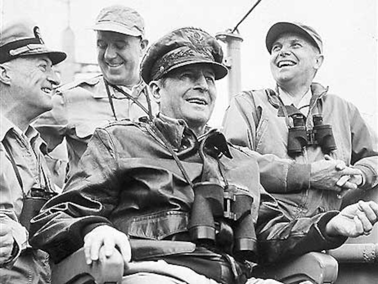 General MacArthur watching the Inchon Landing September 1950. (Courtesy Photo)