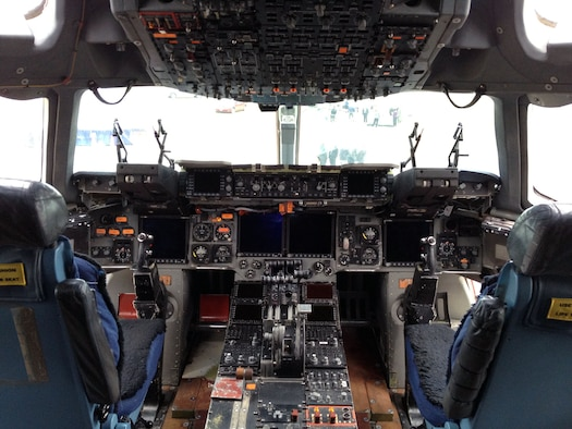 DAYTON, Ohio -- Boeing C-17 cockpit at the National Museum of the U.S. Air Force. (U.S. Air Force photo)
