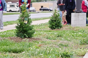 Students from Mark Twain Elementary School and members of the St. Joseph Parks and Recreation Department planted 14 trees donated by the 139th Airlift Wing during an Earth Day event April 27, 2012 in St. Joseph, Mo. (U.S. Air Force photo by Staff Sgt. Michael Crane/Missouri Air National Guard)