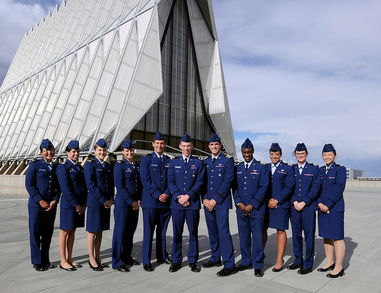 Eleven cadets, shown in this group photo taken April 24, 2012, were recently selected for the Air Force Academy's inaugural Ambassadors of Inclusion program, which will give the cadets experience working for private companies around the world. The program aims to provide cadets with cultural adaptation and self-awareness skills as well as fundamental leadership competencies. (U.S. Air Force photo/Mike Kaplan)