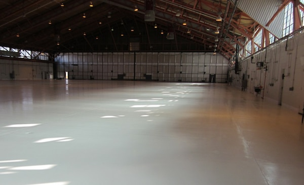 Holloman AFB, New Meixco - Hangar 500 was given a shiny, new epoxy floor as part of its renovation.