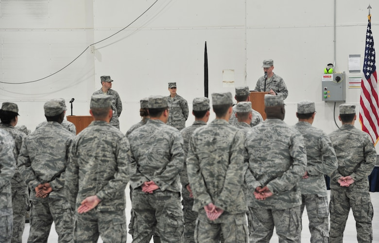 U.S. Air Force Col. William West, 27th Special Operations Group commander, speaks as the 56th Intelligence Squadron is inactivated at Cannon Air Force Base, N.M., April 27, 2012. During the ceremony, the 56 IS was inactivated and the 56th Special Operations Intelligence Squadron activated. (U.S Air Force photo Airman 1st Class Xavier Lockley)