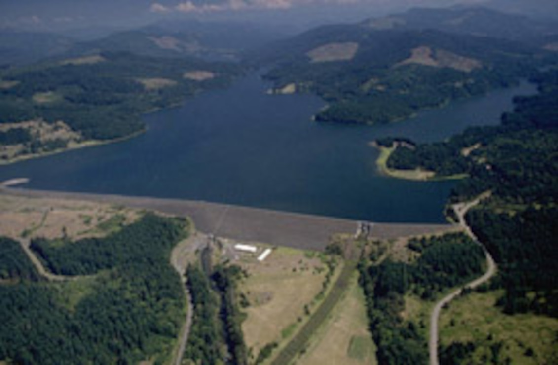aerial photo of Fall Creek Dam