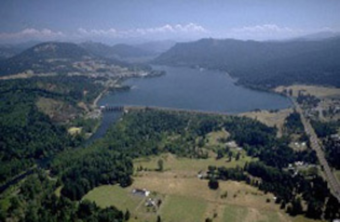 aerial photo of Dexter Dam