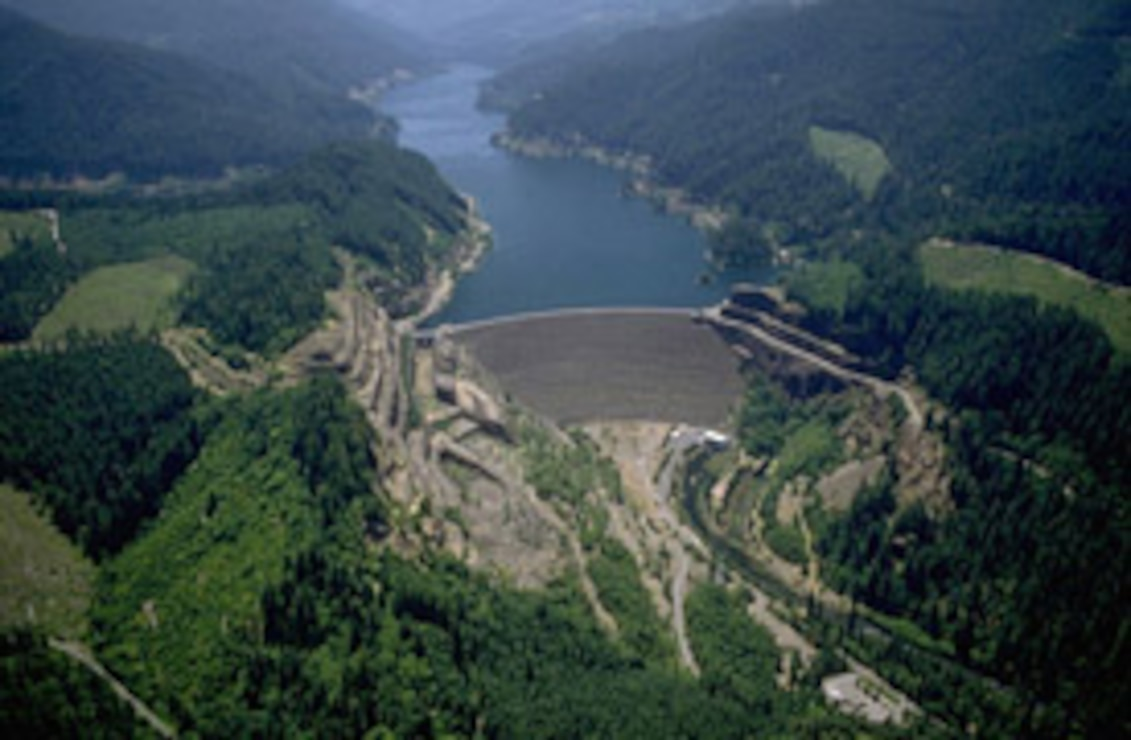 aerial photo of Cougar Dam