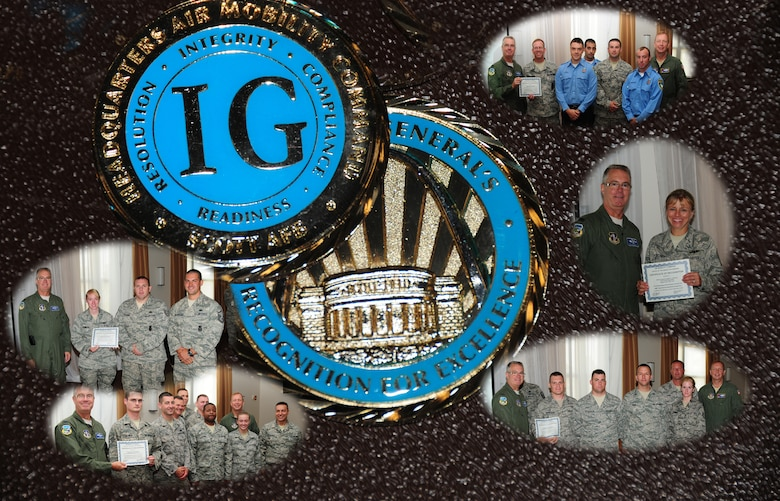 The 107th and 914th Airlift Wing completed its week long (18 - 25 July) Headquarters Air Mobility Command, Operational Readiness Inspection (ORI).Graphic photo of the IG coin and team members being recognized. (U.S. Air Force graphic/Senior Master Sgt. Ray Lloyd)