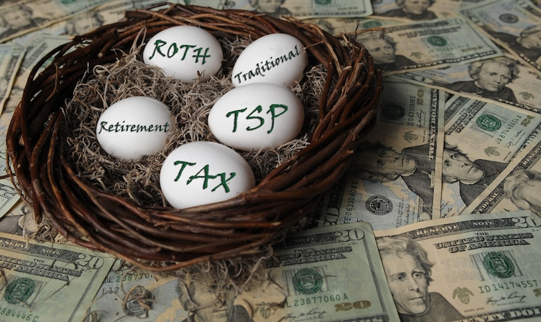 Federal civilian employees and members of the uniformed services will have the option to convert to a Roth TSP beginning October 2012. For more information or questions concerning the TSP, members can visit www.tsp.gov, which gives a comprehensive overview of the TSP, and both the Traditional and Roth options. (U.S. photo illustration by Airman 1st Class Teresa Cleveland/Released)